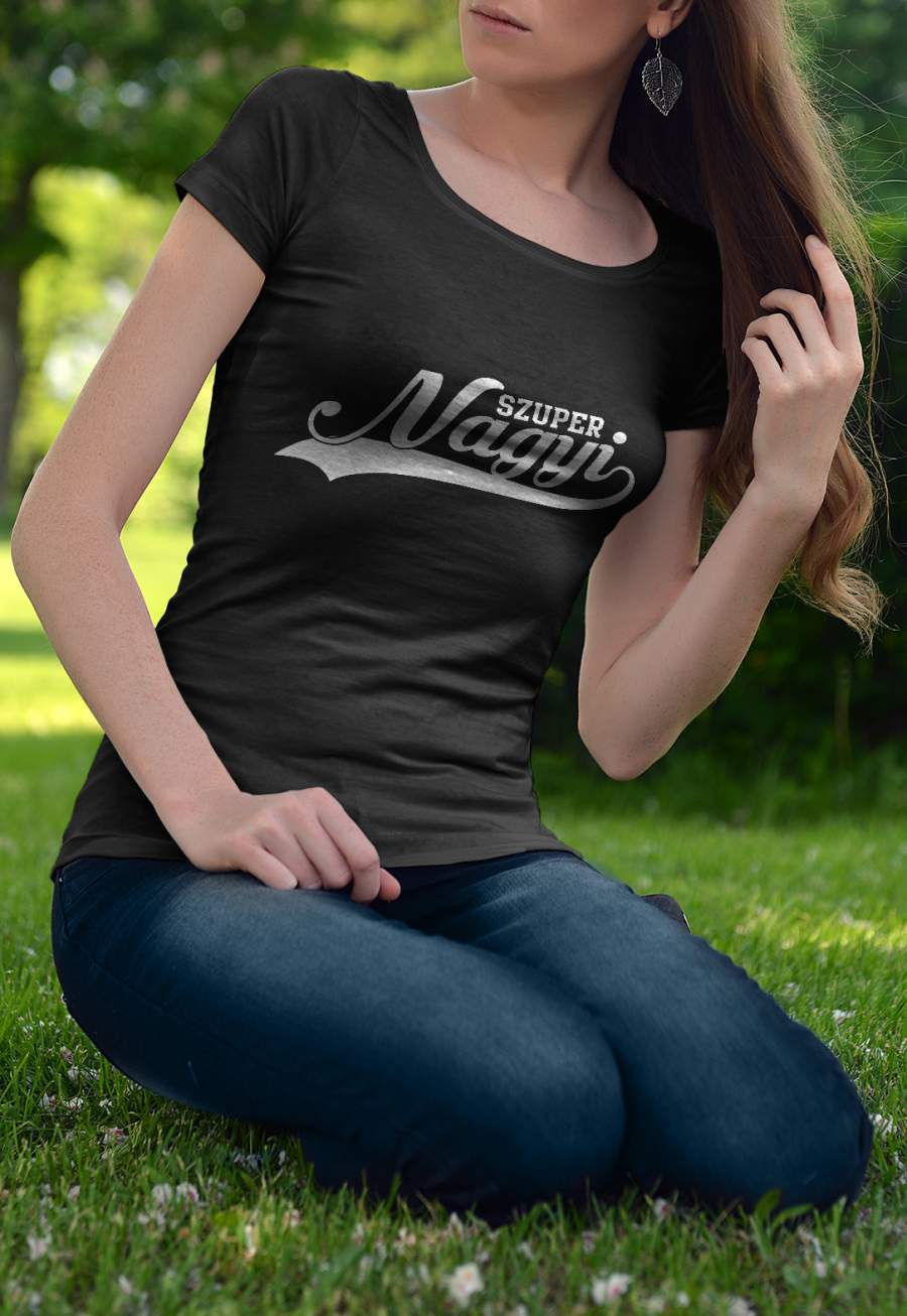 Női póló fekete Szuper Nagyi