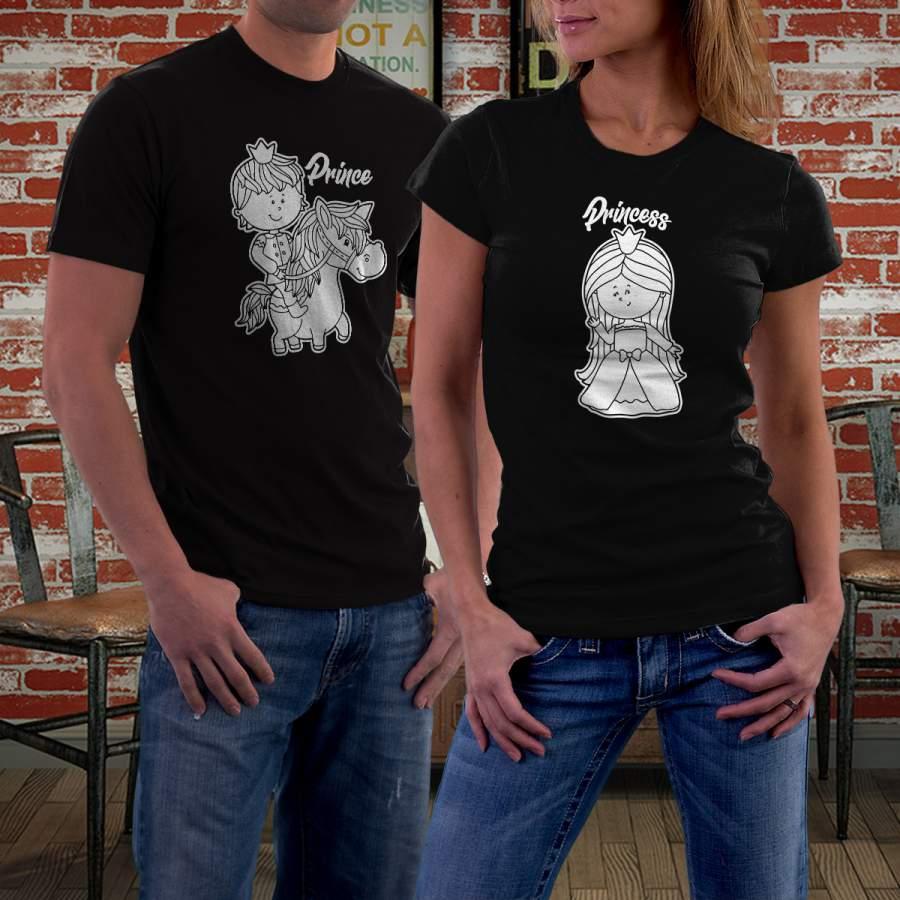 Fekete prince & princess póló pároknak