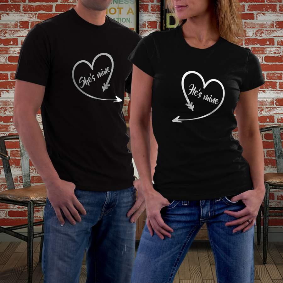 Fekete szíves póló pároknak