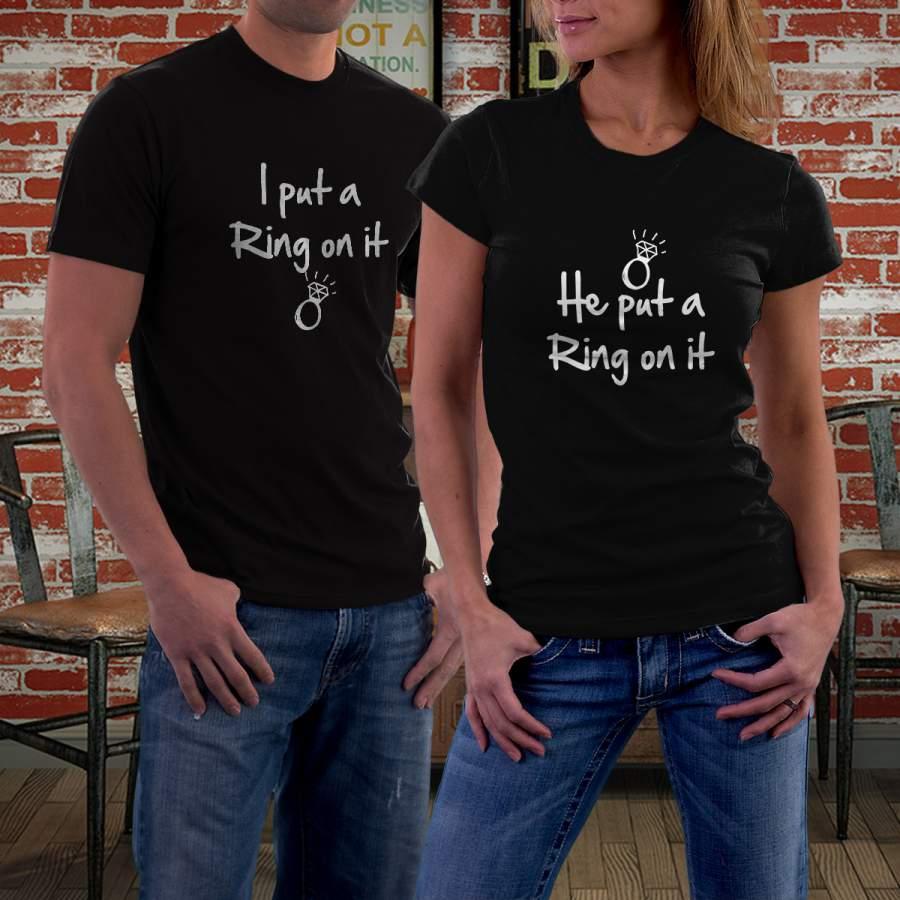 Fekete eljegyzés póló pároknak
