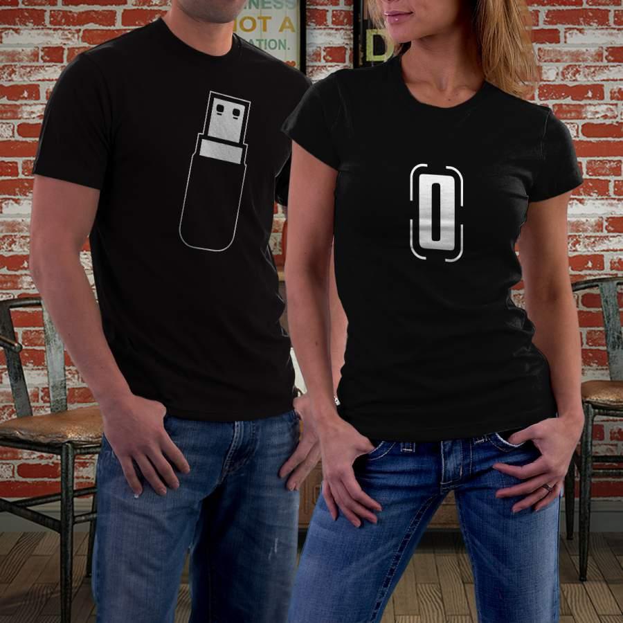 Fekete USB póló pároknak