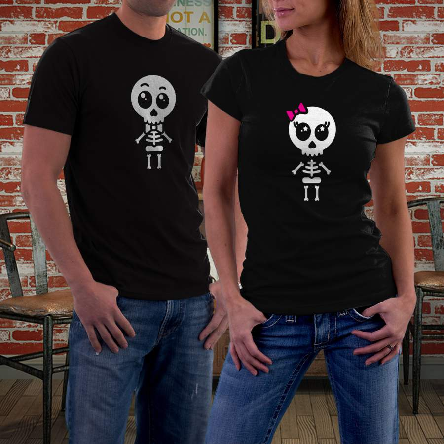Fekete csontváz póló pároknak
