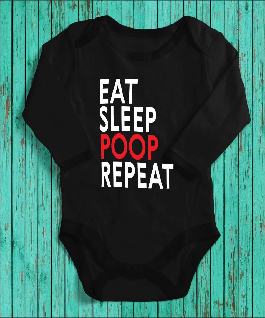 Eat, sleep, poop fekete gyerek body