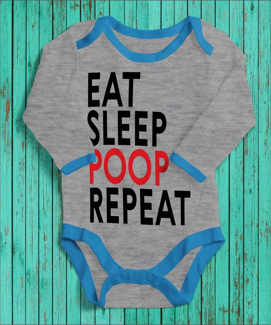 Eat, sleep, poop, repeat szürke/kék gyerek body fekete mintával