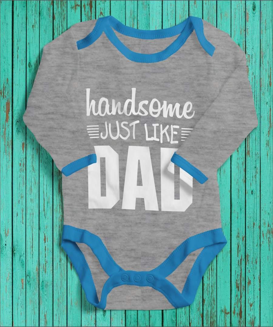 Handsome like dad szürke/kék gyerek body fehér mintával