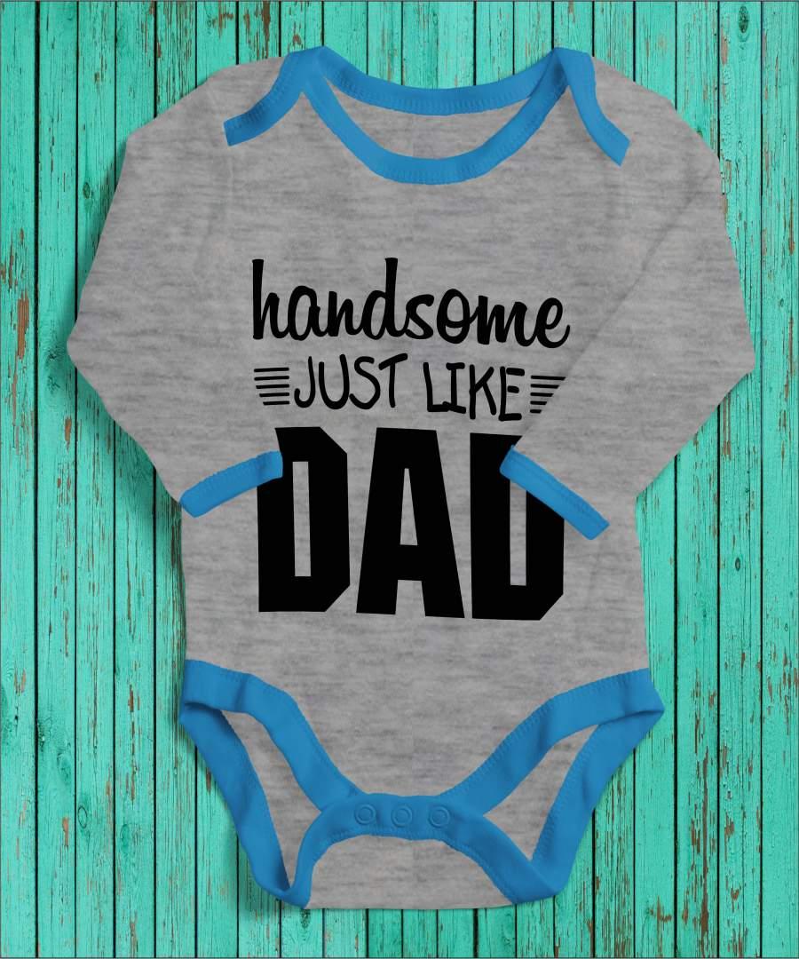 Handsome like dad szürke/kék gyerek body fekete mintával