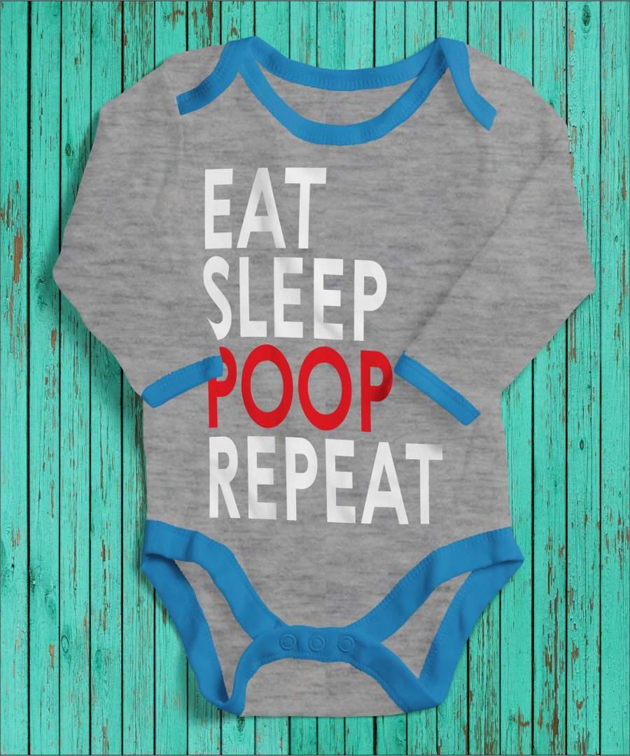 Eat, sleep, poop, repeat szürke/kék gyerek body fehér mintával