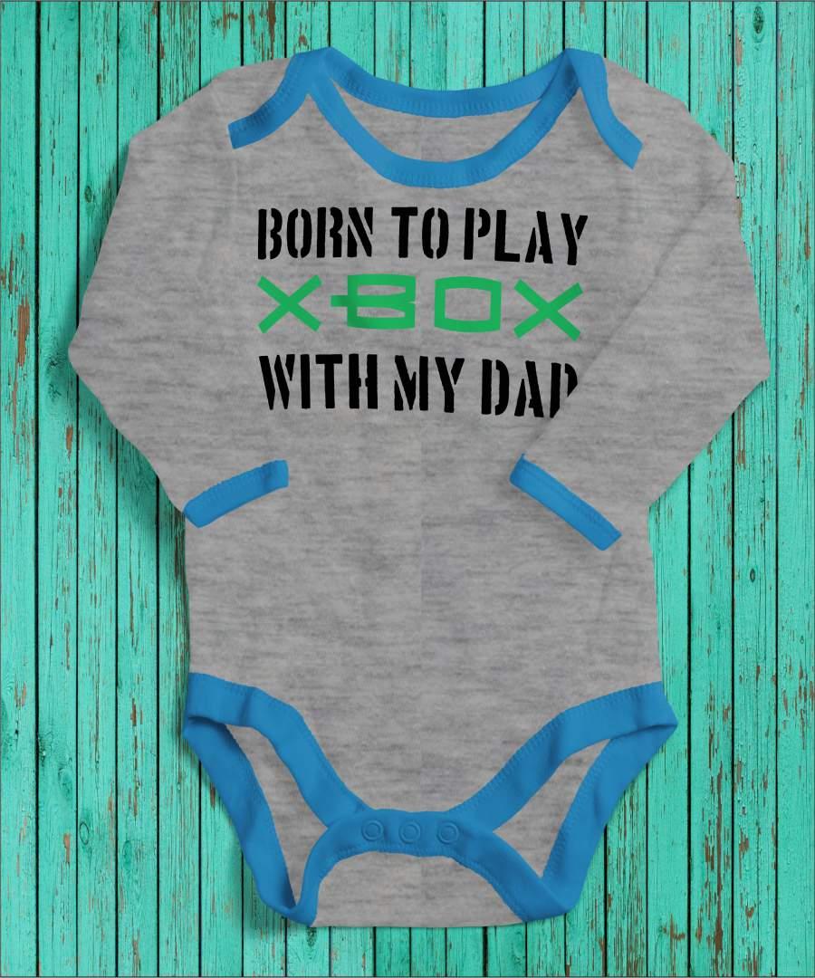 Born to play szürke/kék gyerek body fekete mintával