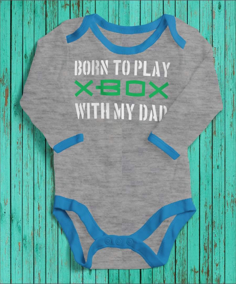 Born to play szürke/kék gyerek body fehér mintával