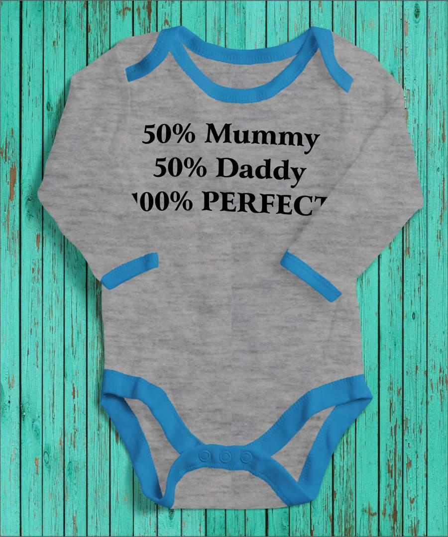 100% perfect szürke/kék gyerek body fekete mintával