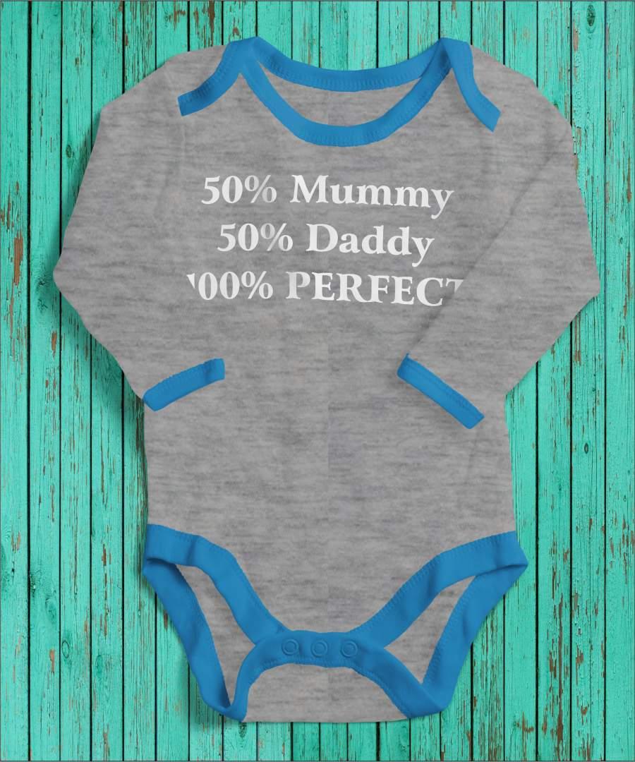 100% perfect szürke/kék gyerek body fehér mintával