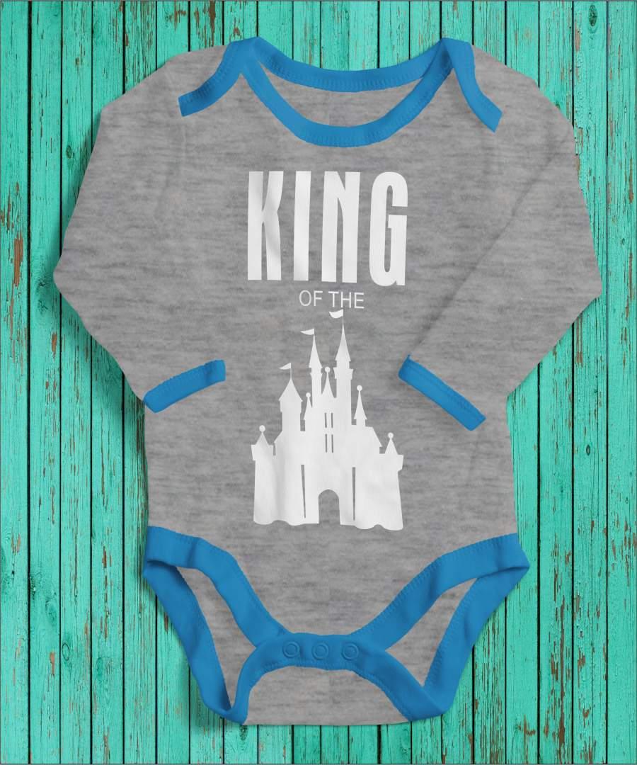 King of the castle szürke/kék gyerek body fehér mintával