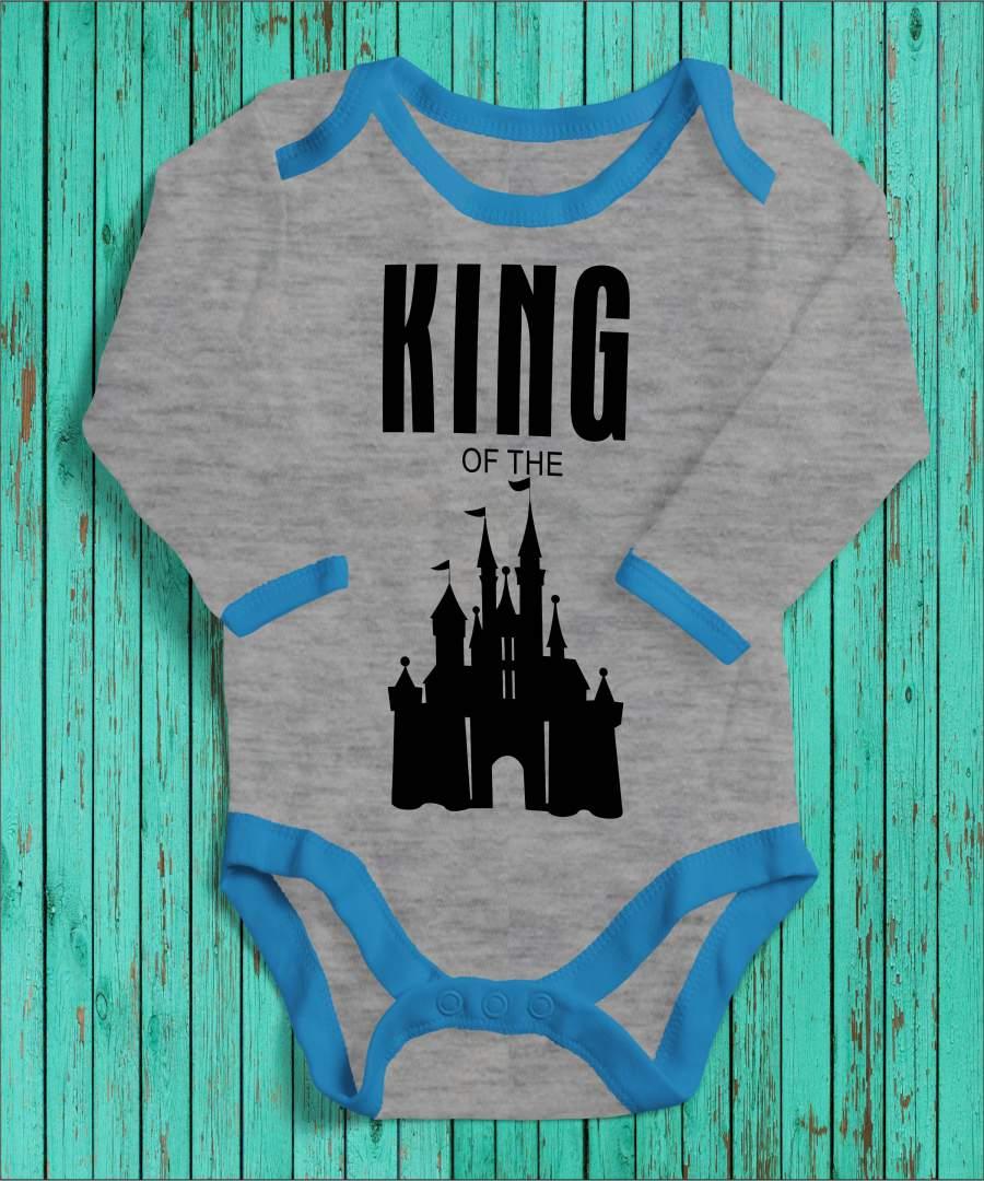 King of the castle szürke/kék gyerek body fekete mintával