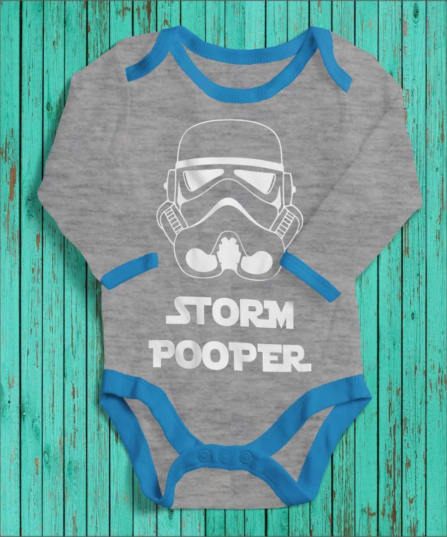 Storm Pooper szürke/kék gyerek body fehér mintával