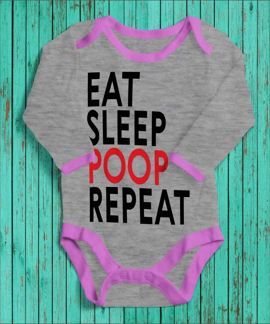Eat, sleep, poop, repeat szürke/rózsaszín gyerek body fekete mintával