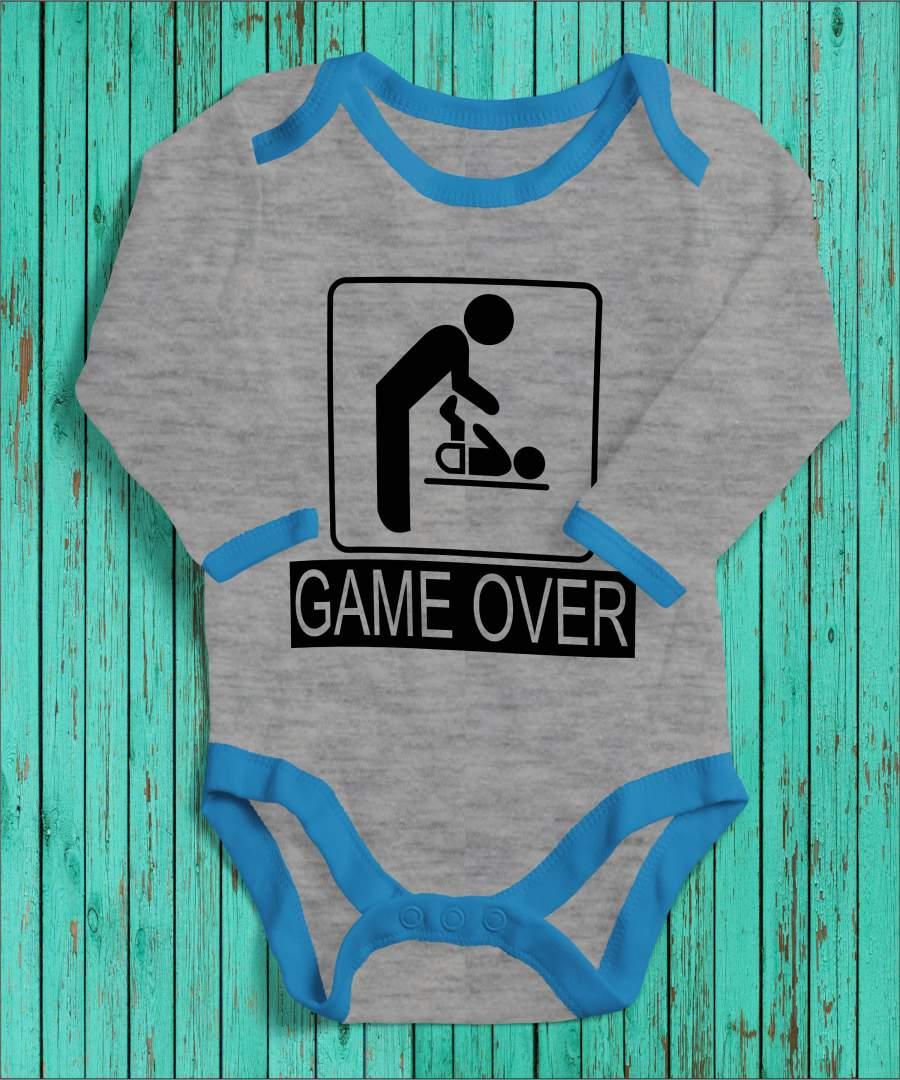 Game Over szürke/kék gyerek body fekete mintával