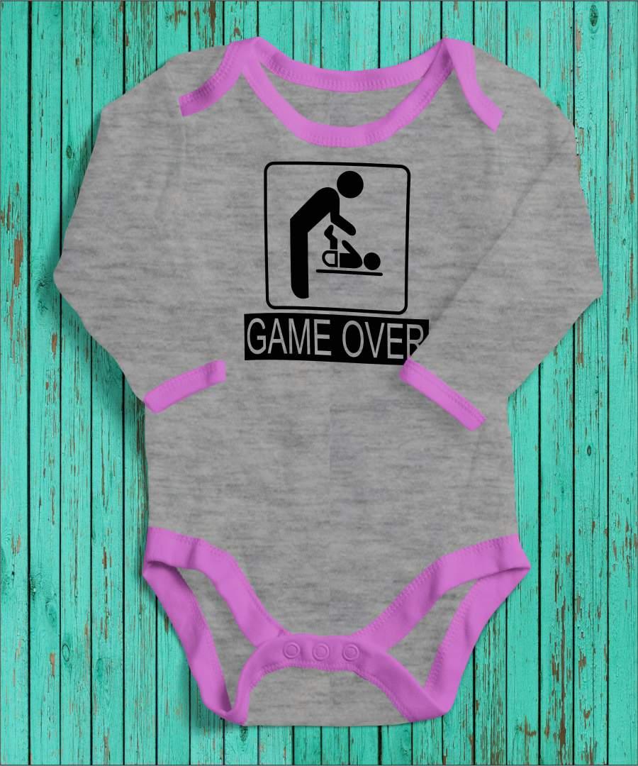 Game Over szürke/rózsaszín gyerek body fekete mintával