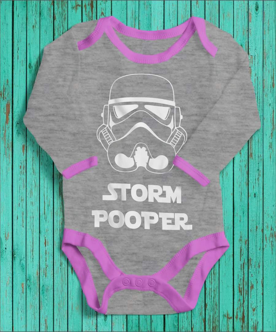 Storm Pooper szürke/rózsaszín gyerek body fehér mintával