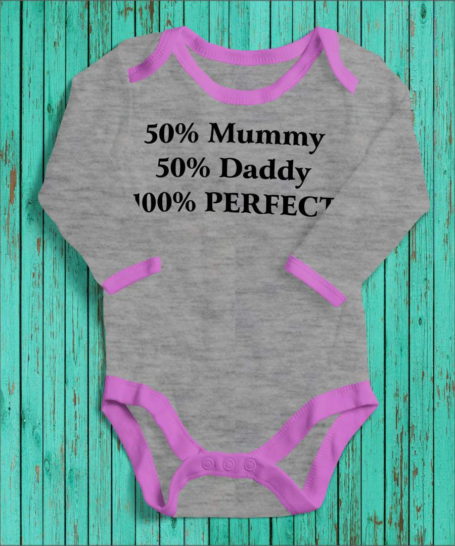 100% perfect szürke/rózsaszín gyerek body fekete mintával