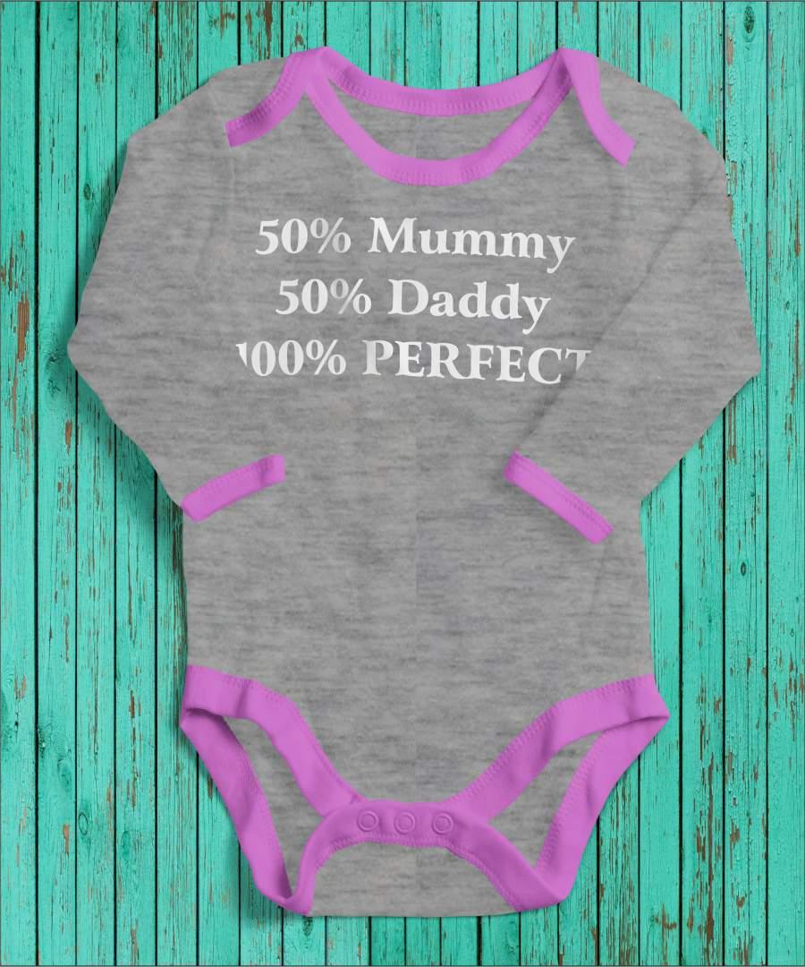 100% perfect szürke/rózsaszín gyerek body fehér mintával