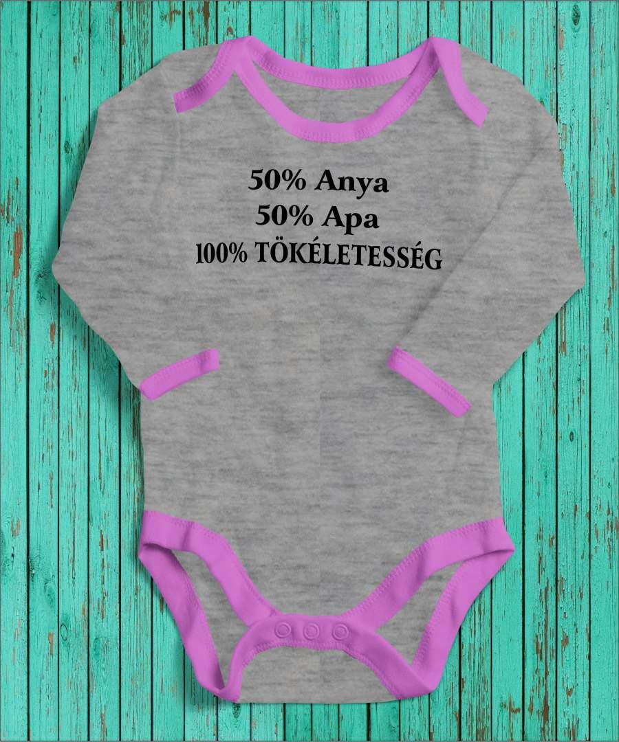 100% tökéletesség szürke/rózsaszín gyerek body fekete mintával