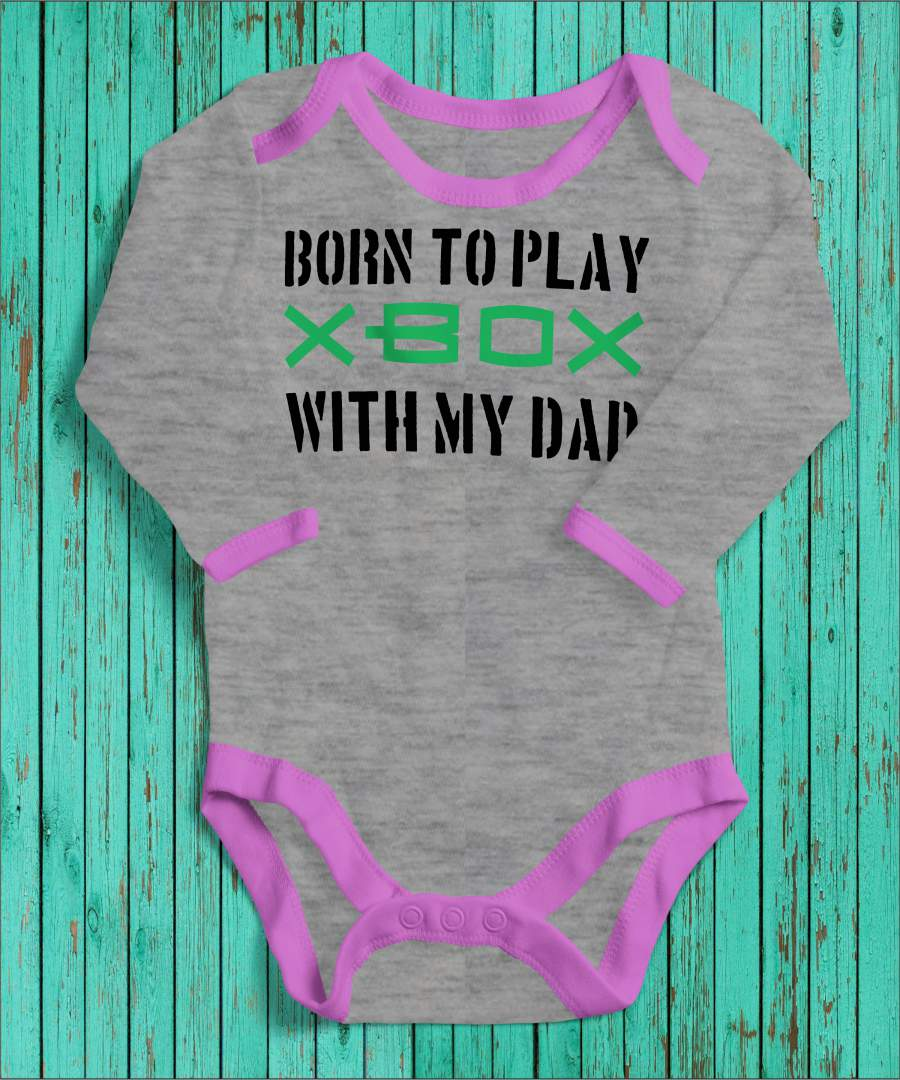 Born to play szürke/rózsaszín gyerek body fekete mintával