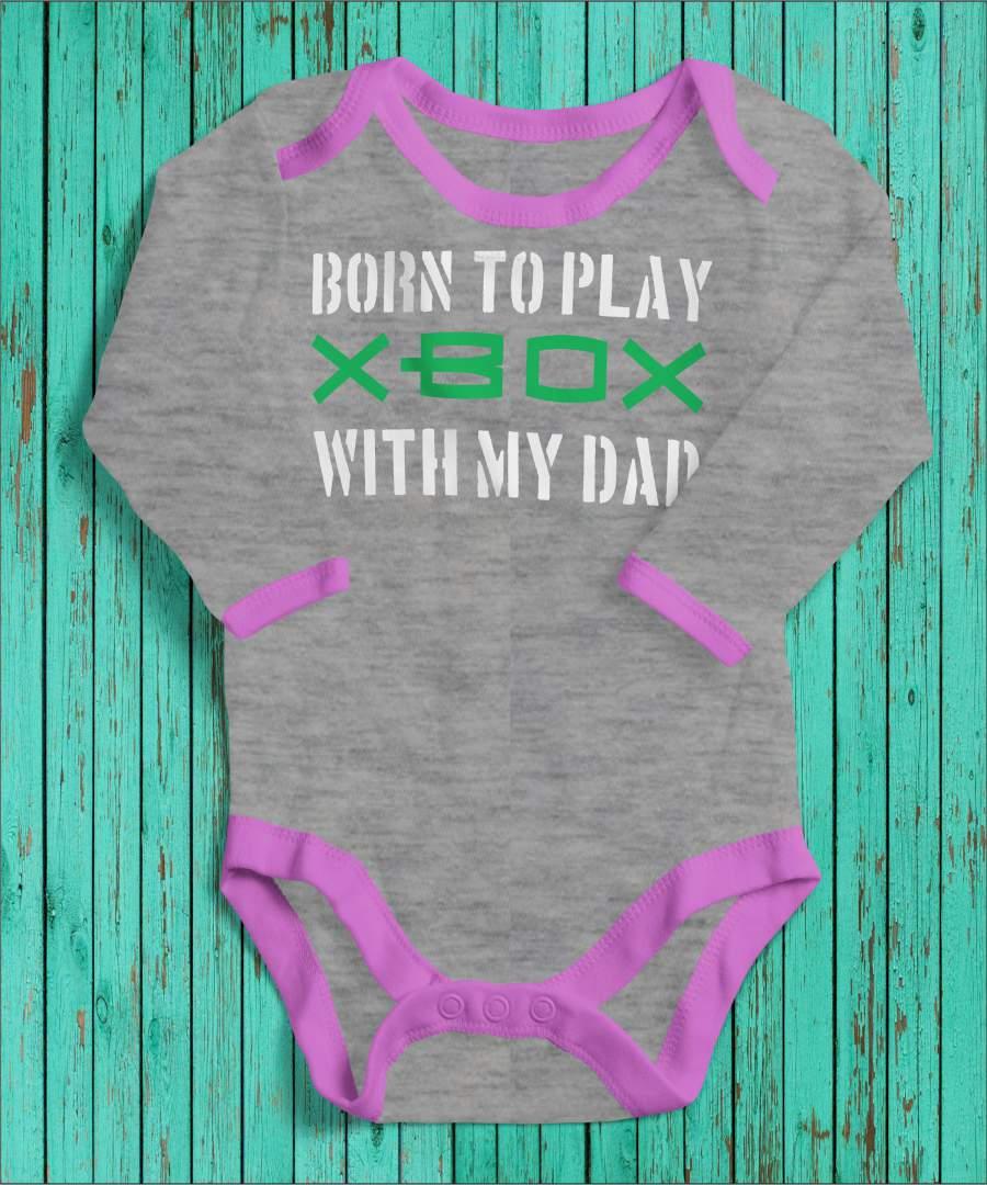 Born to play szürke/rózsaszín gyerek body fehér mintával