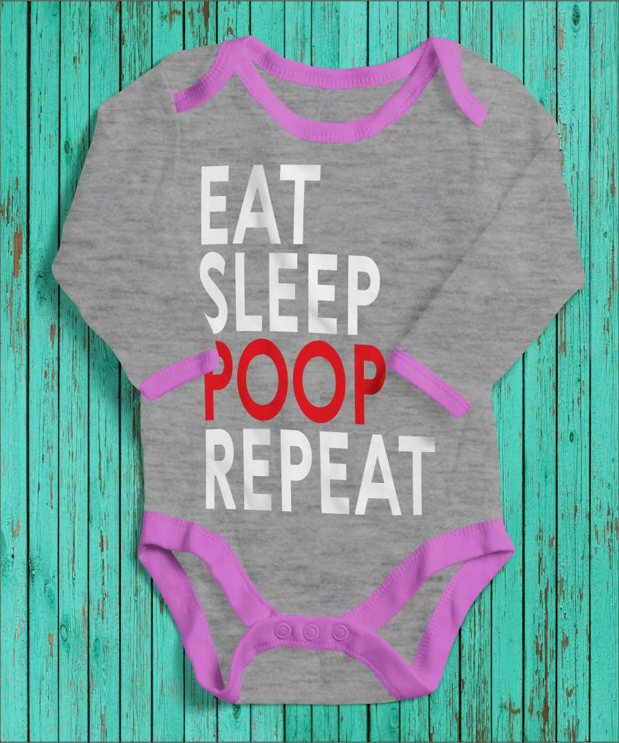 Eat, sleep, poop, repeat szürke/rózsaszín gyerek body fehér mintával
