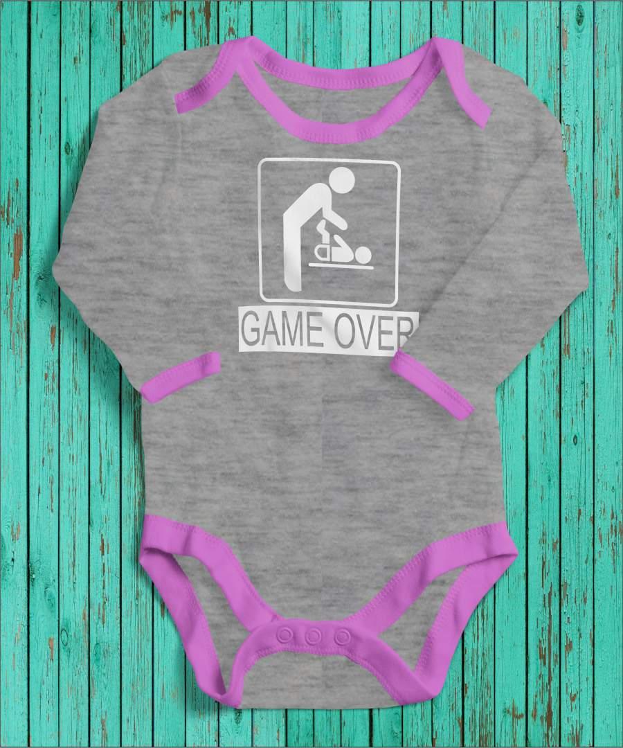 Game Over szürke/rózsaszín gyerek body fehér mintával