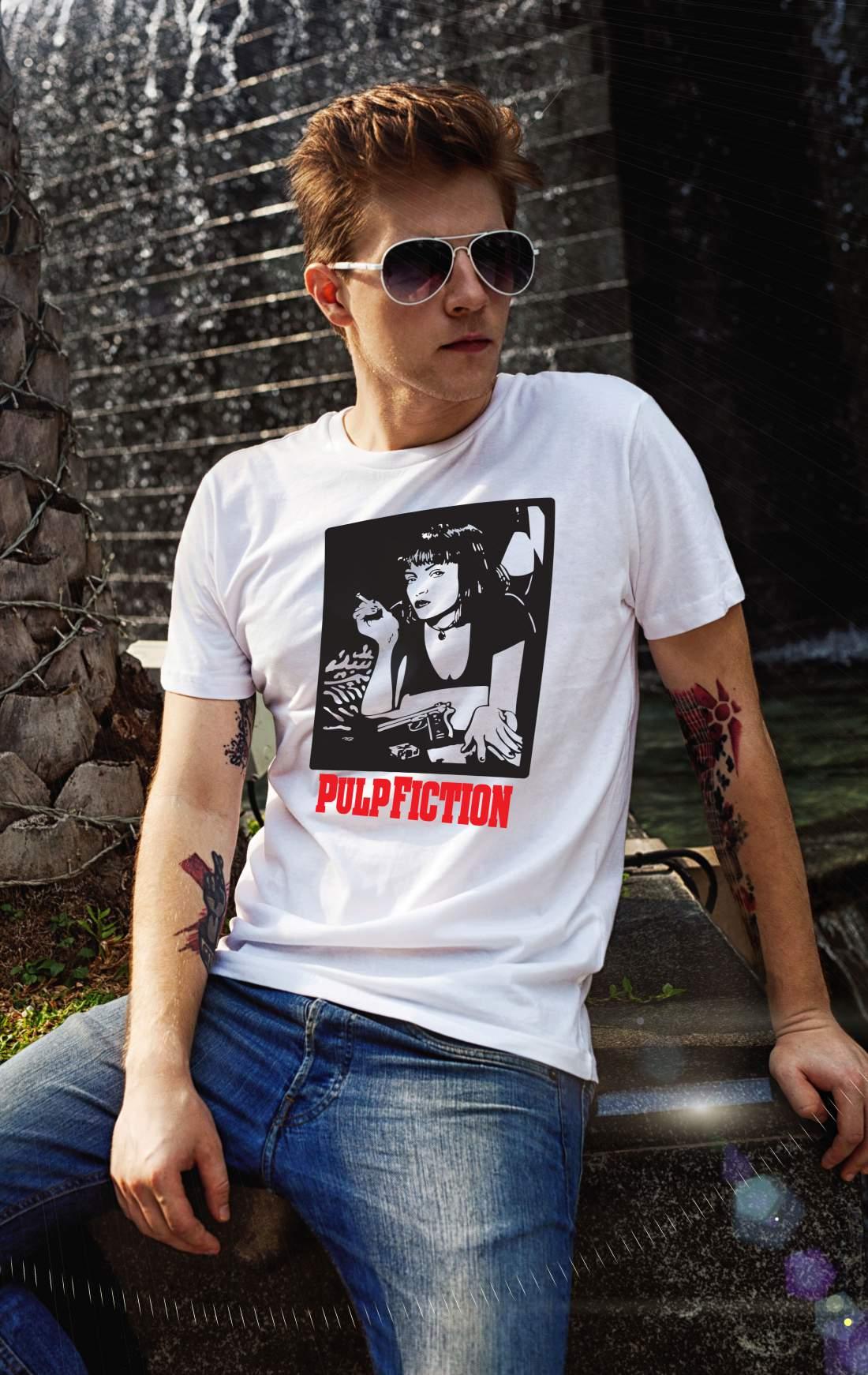 Pulp Fiction Mia férfi póló fehér