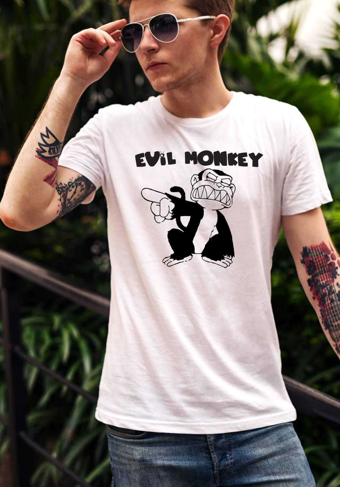 Evil Monkey férfi póló fehér