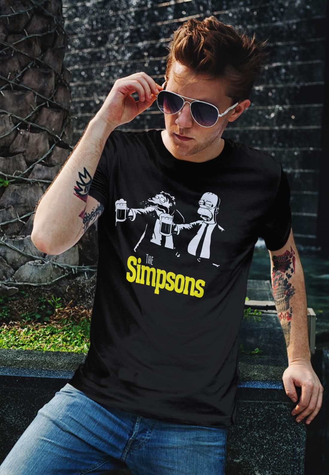 Simpson férfi póló fekete