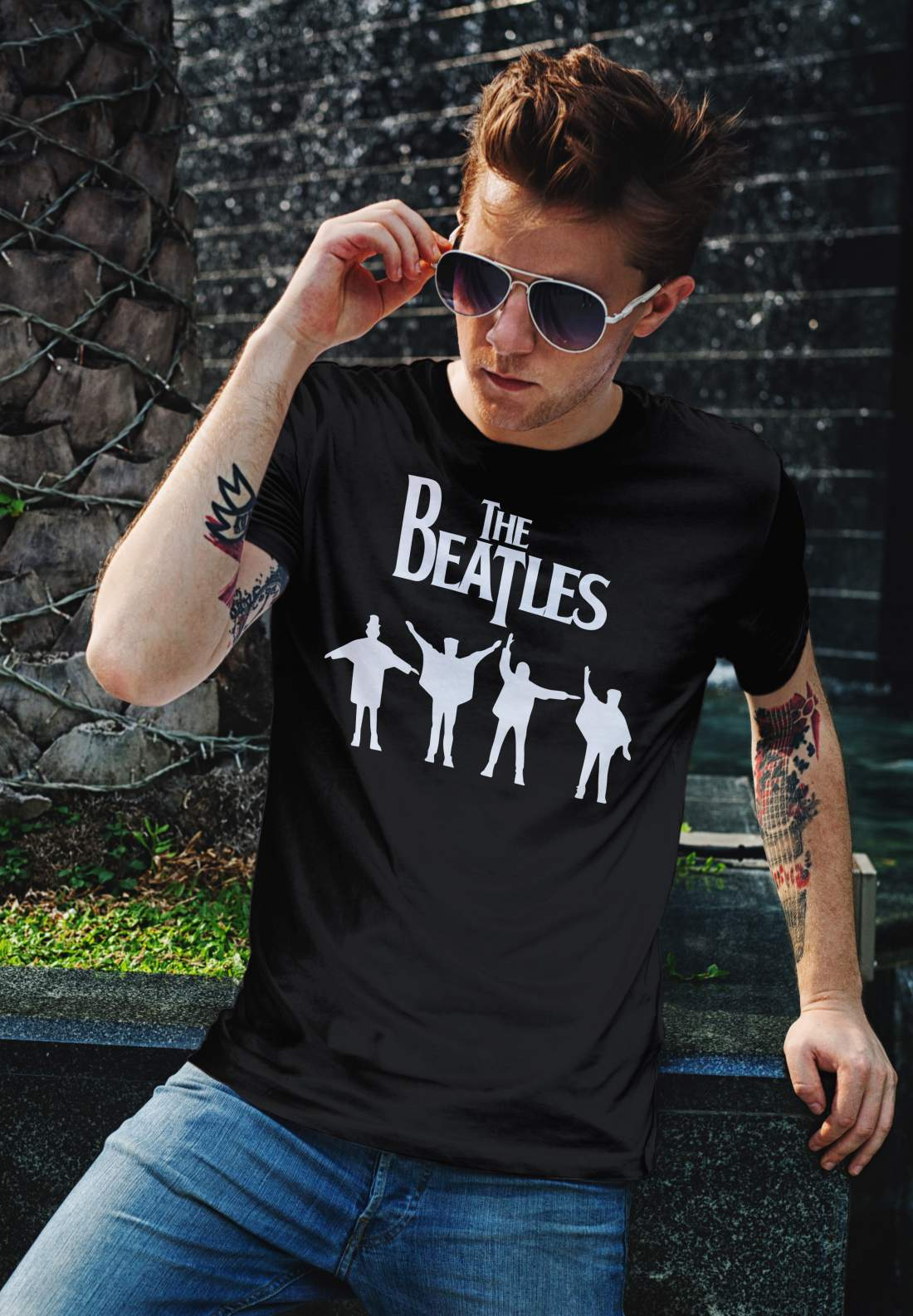 The Beatles 4 férfi póló fekete